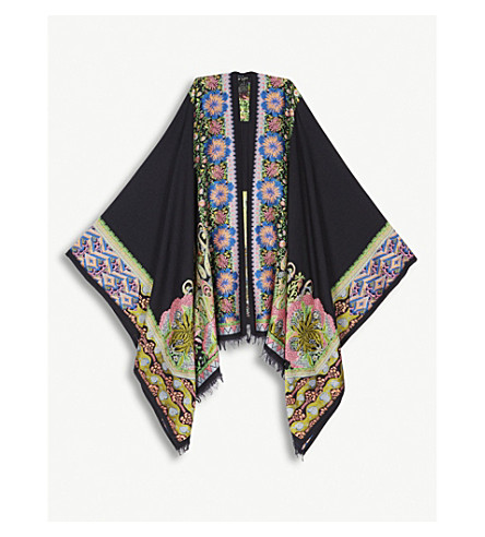 ETRO Floral wool-blend poncho (Black