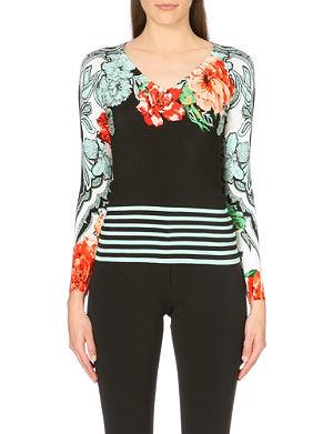 ETRO Floral striped silk-blend jumper