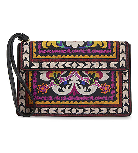 ETRO Printed leather clutch (Multi