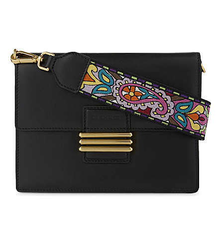 ETRO Paisley leather shoulder bag (Black