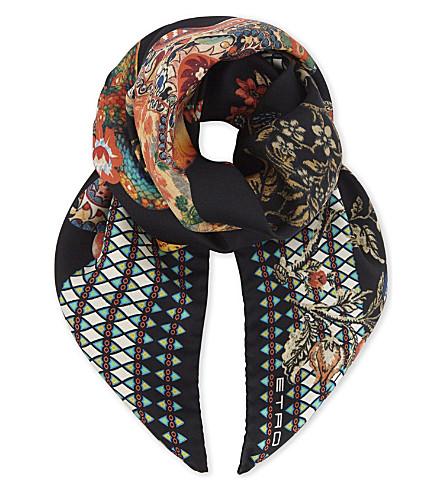 ETRO Goa Foulard print silk scarf (Black