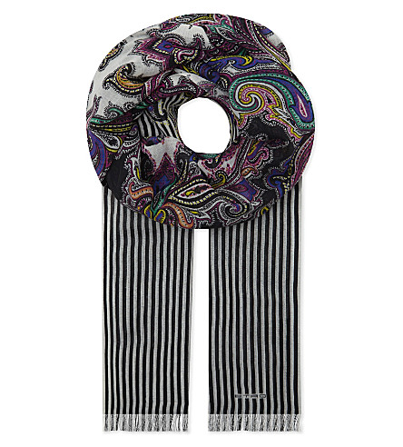 ETRO Paisley wool and cashmere-blend scarf (Bianco