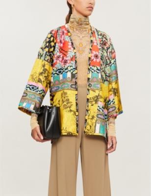 Norfolk mixed-print silk kimono