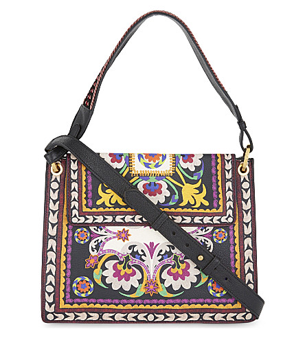 ETRO Embroidery print medium leather shoulder bag (Multi