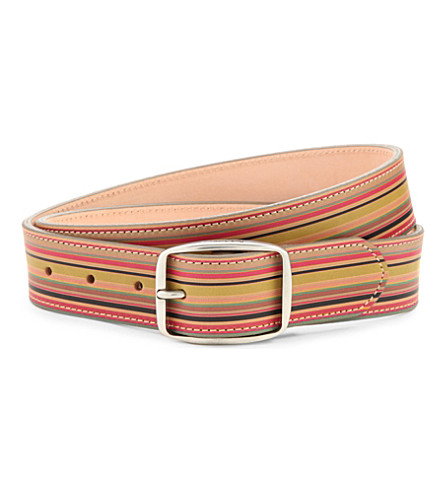 PAUL SMITH ACCESSORIES Vintage multi-stripe leather belt (Multi