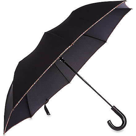 PAUL SMITH Multi-striped trim umbrella (Black