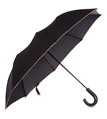 PAUL SMITH ACCESSORIES Multi-striped trim umbrella (Black