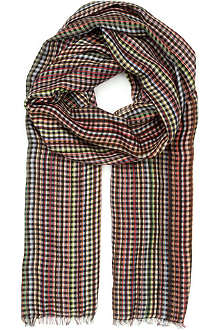 PAUL SMITH ACCESSORIES Multi-striped checked scarf