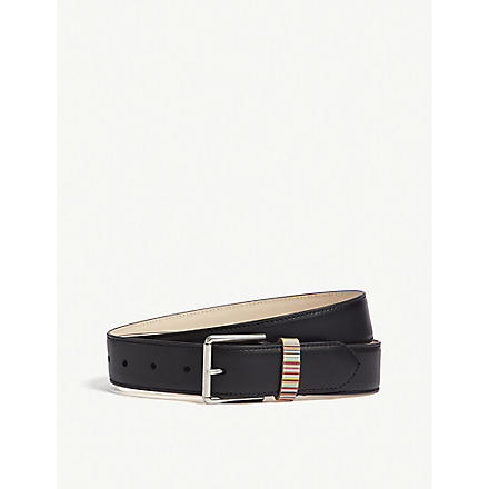 PAUL SMITH Vintage multi-striped keeper belt (Black