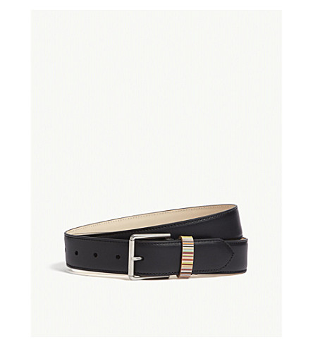 PAUL SMITH ACCESSORIES Vintage multi-striped keeper belt (Black