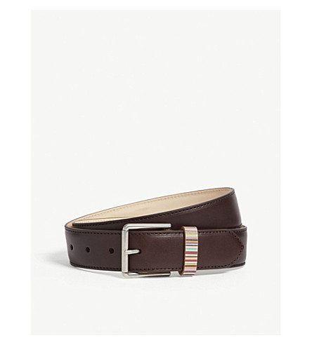 PAUL SMITH Vintage multi-striped keeper belt (Chocolate