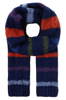 PAUL SMITH Striped cable scarf