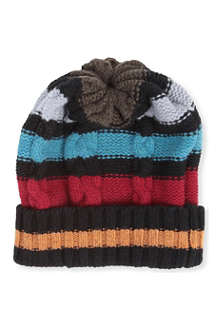 PAUL SMITH Striped cable knit beanie hat