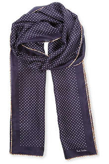 PAUL SMITH Multistripe edge polka dot scarf