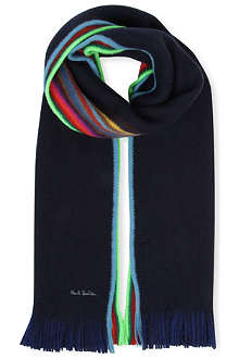 PAUL SMITH Reversible striped-edge scarf