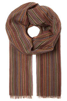 PAUL SMITH Striped cotton-silk scarf