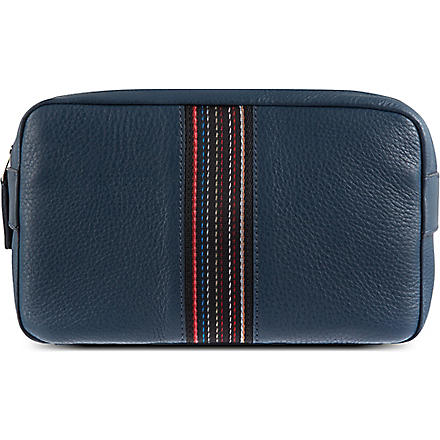 PAUL SMITH Leather webbed stripe wash bag (Blue