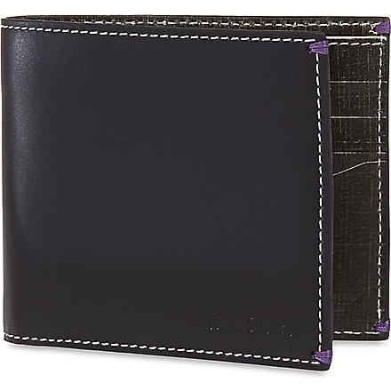 PAUL SMITH Mini crosshatched bifold wallet (Black
