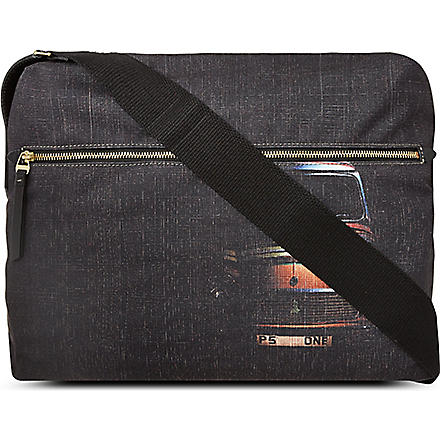 PAUL SMITH Mini cross hatched flight bag (Black