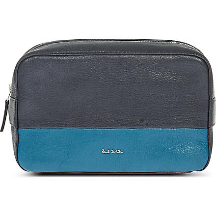 PAUL SMITH Colour-block leather wash bag (Navy