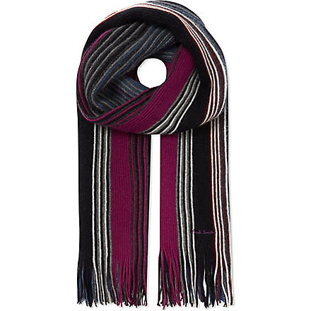 PAUL SMITH Fine stripe scarf (Grey