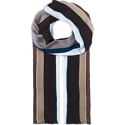PAUL SMITH Fiocca stripe scarf (Grey