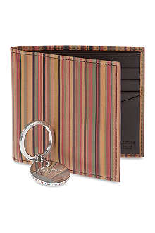 PAUL SMITH Striped billfold wallet and keyring set