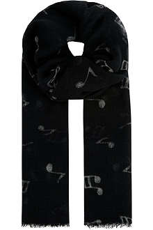 PAUL SMITH ACCESSORIES Music notes scarf