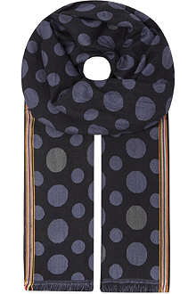 PAUL SMITH ACCESSORIES Cotton-silk blend spotted scarf