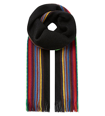 PAUL SMITH ACCESSORIES Reversible striped scarf (Black
