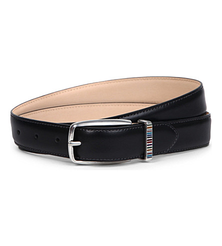 PAUL SMITH ACCESSORIES Multi-stripe keeper belt (Black