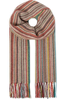 PAUL SMITH ACCESSORIES Striped wool-cashmere scarf