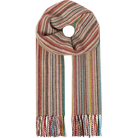 PAUL SMITH ACCESSORIES Striped wool-cashmere scarf (Multi