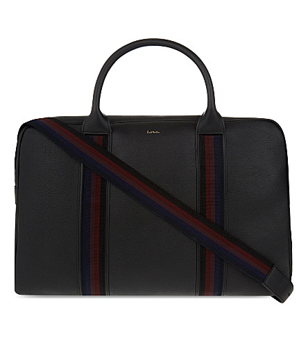 PAUL SMITH City Webbing leather holdall (Black