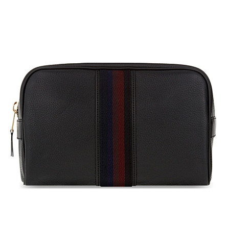 PAUL SMITH ACCESSORIES City web leather wash bag (Black