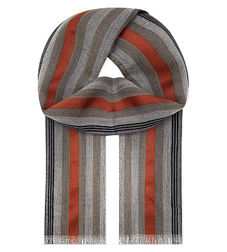 Stripe pattern wool-silk scarf