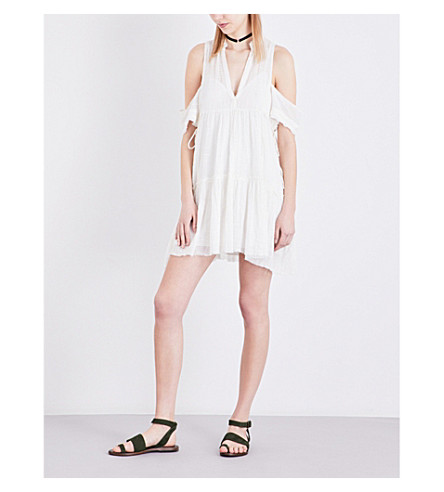 FREE PEOPLE Cold-shoulder cotton-blend dress (Cream