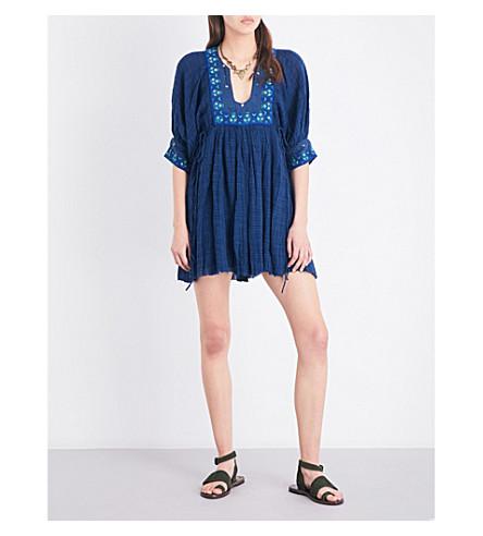 FREE PEOPLE Kalypso cotton-blend mini dress (Blue