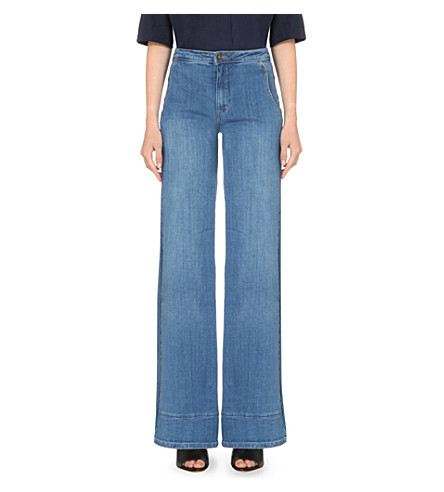 FREE PEOPLE Wide-leg high-rise jeans (Elm
