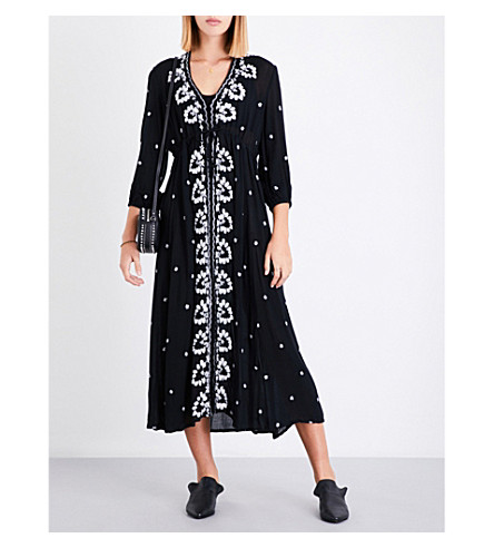 FREE PEOPLE Fable embroidered gauze dress (Black