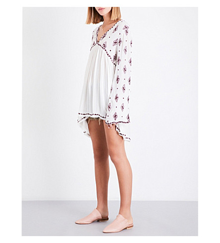 FREE PEOPLE Diamond embroidered gauze top (Ivory