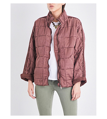 FREE PEOPLE Dolman quilted jacket (Terracotta