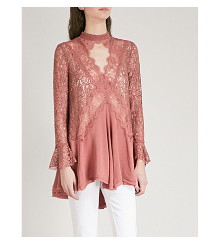 FREE PEOPLE Tell Tale lace tunic (Dusty+mauve