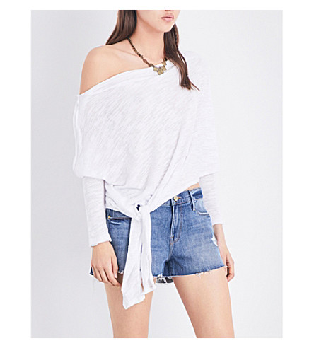 FREE PEOPLE Love Lane off-the-shoulder jersey top (White