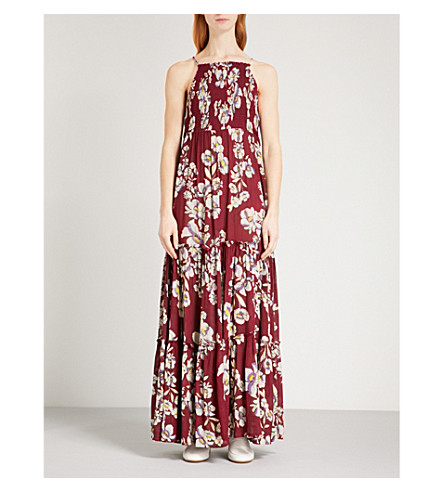 FREE PEOPLE Garden Party sleeveless woven maxi dress (Raspberry