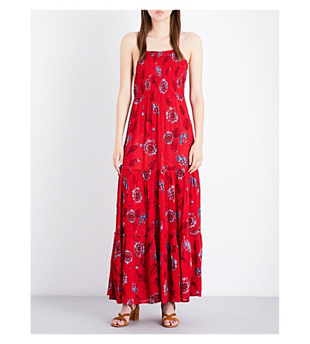 FREE PEOPLE Garden Party woven maxi dress (Red+combo