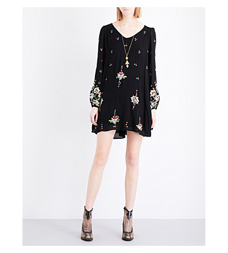 FREE PEOPLE Oxford embroidered gauze mini dress (Black+combo