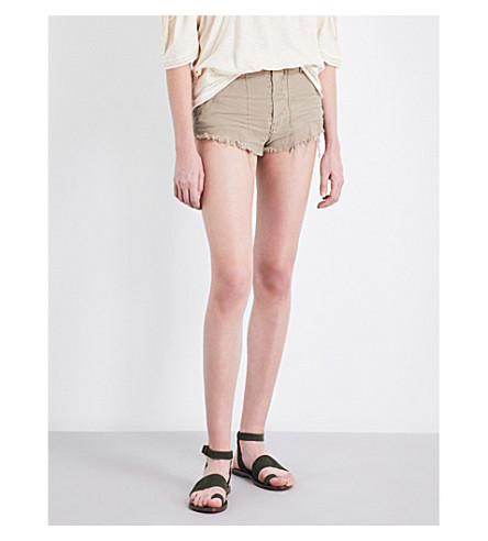 FREE PEOPLE Raw & Patched frayed-hem cotton-twill shorts (Beige