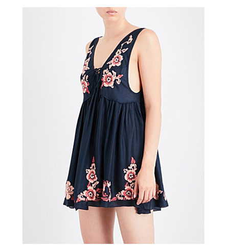 FREE PEOPLE Aida embroidered satin nightdress (Navy