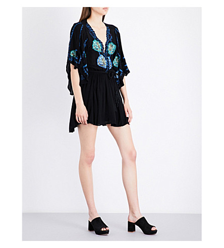 FREE PEOPLE Cora floral-embroidered woven mini dress (Black